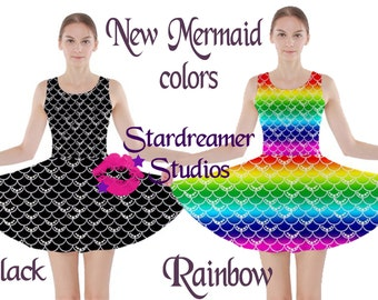 Black Rainbow Custom Color Mermaid Skater Dress Pre-Order & In Stock