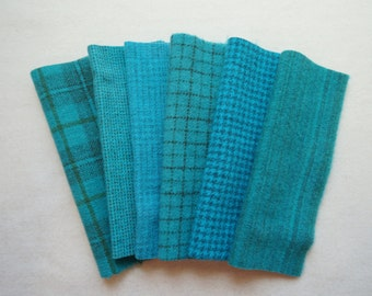 Turquoise - Teal - Aqua - Hand Dyed Felted Wool Fabrics Perfect for Rug Hooking - Wool Applique - Quilting - Sewing by Quilting Acres