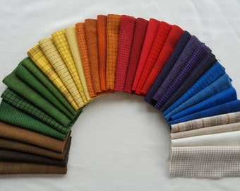 Red - Yellow- Blue - Hand Dyed and Felted Wool Fabric Perfect for Applique, Rug Hooking, Sewing, and Crafts Number 4506C