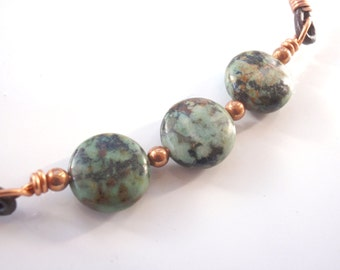 Men's African Turquoise and Copper Choker, Adjustable Leather Necklace
