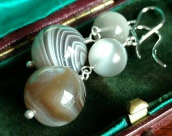 Botswana agate and wolf eye moonstone earrings - antique style handmade jewelry
