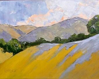 Original Impressionist Painting California Hillsides Oak Trees Plein Air Landscape Art Lynne French 12x16