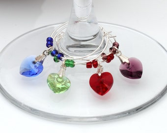 Swarovski crystal heart wine glass charms- Set of 4 mixed colours- Hostess Gift, wedding favour