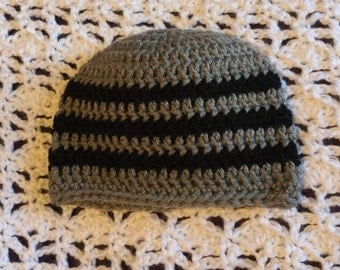 Grey and black striped hat