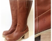 Cognac FRYE Platform Campus Boots 8