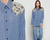 Chambray Shirt Western Shirt 70s Floral Blouse Blue Jean Hipster Top Boho 1970s Vintage Button Up Long Sleeve Rockabilly Yoke Large