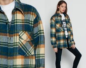 Wool Plaid Shirt 70s Flannel Blue Plaid Jacket 1970s Lumberjack Grunge Button Up Long Sleeve Vintage Men Oversized Green Cream Medium