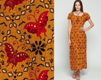 Boho Hippie Dress 70s Maxi BATIK BUTTERFLY PRINT Floral Ethnic Empire Waist Cotton Puff Sleeve 1970s Bohemian Vintage Orange Small Medium