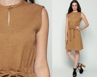 70s Boho Dress Mini Plain High Drawstring Waist KEYHOLE Brown Mod Bohemian 1970s Vintage Sleeveless Cut Out Simple Medium Large