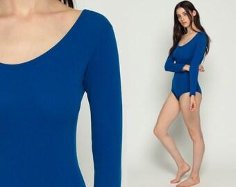 80s Leotard Royal Blue Bodysuit Top Long Sleeve Shirt 1980s Tight Blouse Vintage Plain Retro One Piece Boycut Medium Large