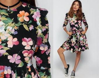 Floral GRUNGE Dress 80s Mini BABYDOLL Puff Sleeve Vintage Skater Rink High Waist Party 3/4 Sleeve Black Purple MiniDress Small Medium