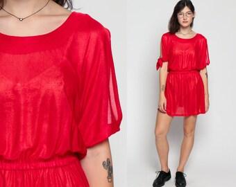 Sheer Dress 70s Mini COLD SHOULDER Red Boho 80s High Waisted Plain Party 1970s Keyhole Bohemian Vintage Cut Out Retro Medium