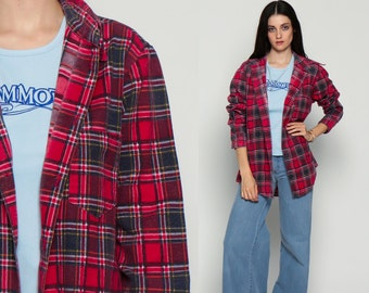Oversized Plaid Shirt 90s Flannel Red Black White By Shopexile