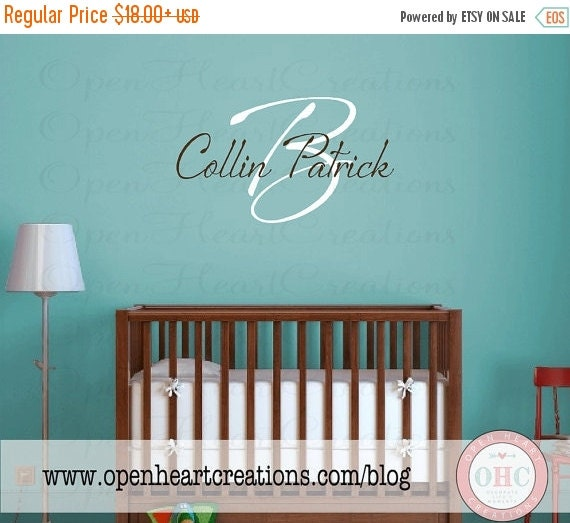 ON SALE Initial and First and Middle Name Wall Decal Handwritten Modern Style Boy Girl IN0020
