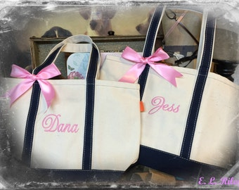 2 Personalized Bridesmaid Gift Canvas Boat Tote, Weekender Bag,  Bridesmaid Gift Tote, Greek Gift