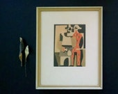 Vintage Modern Art Picasso Print Pierrot and Red Harlequin Framed 1940s