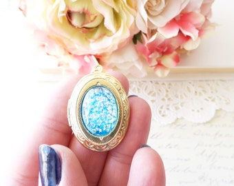 Brilliant Blue Opal Locket Necklace - Gold Locket - Birthstone Locket Necklace - Keepsake - October Birthday Gift - Sky Blue Opal