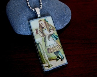 Alice in Wonderland. Glass pendant necklace.