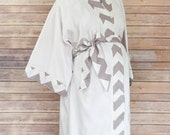 Gray Chevron Maternity Kimono Robe - Super Soft Microfleece - Add a Labor and Delivery Gown to Match
