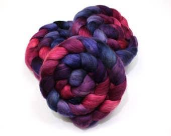 Camel/ Merino Wool/ Cultivated Silk Roving (40/40/20) - Handpainted Spinning Fiber