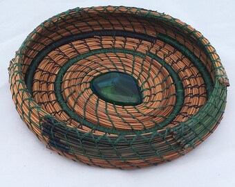 Pine Needle Basket Blue n Green Glass Center- Item 770 by Susan Ashley