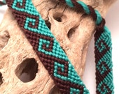 Tidal wave friendship bracelet in aqua & brown
