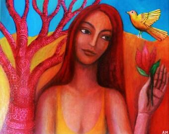 Yellow Bird.  Original Painting.