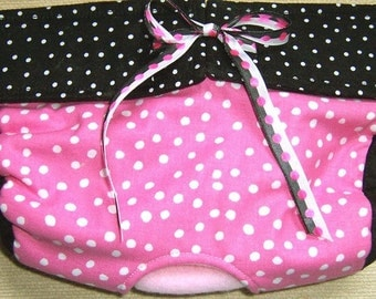 Dog Diapers Britches or Panties Hot Pink with White Dots Trimmed with Black and White Dots