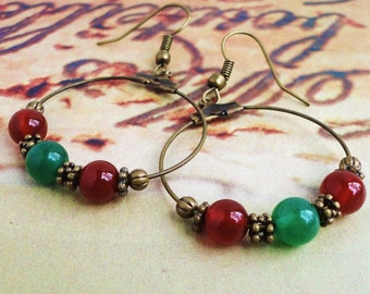 Xmas Color Gemstone Hoop Earrings, Carnelian and Green Aventurine, Christmas Jewelry, Holiday Gift for Her, Handmade