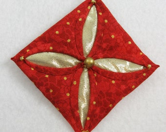 Red  and Gold Cathedral Window Quilted Christmas Ornament 151