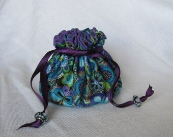 Jewelry Bag with Glass Beads on the Drawstrings - Medium Size - DESIGNER DOODLE