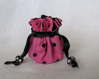 Travel Pouch - Mini Size - Drawstring Jewelry Tote - Bag for Jewelry - PINK POODLE