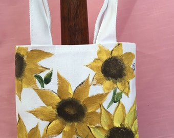 Canvas tote - Hand painted Sunflowers, tote with handles