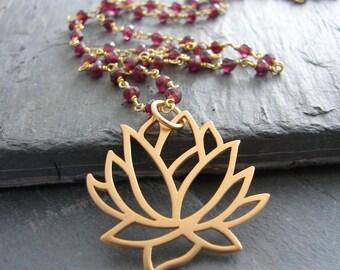 Lotus Necklace | Garnet Gemstone | Gold Necklace  |Love Inner Beauty | Yoga Jewelry | Lotus Flower Pendant |Boho Style | Lotus jewelry
