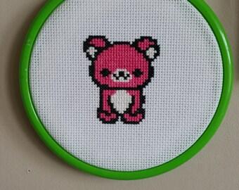 Handmade Cross Stitched Pink Bear Kawaii Lime Green Hoop