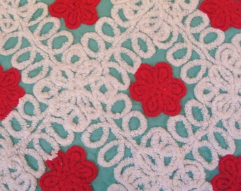 Aqua and Red Floral PlushVintage Cotton Chenille  Fabric 21.5 x 26.5  Inches