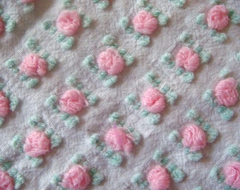 Morgan Jones Pink Rosebud Vintage Cotton Chenille Bedspread Fabric 13 x 38 inches