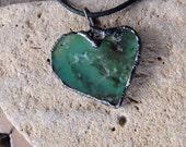 Chrysoprase necklace - heart jewelry - green gem stone heart handmade in Australia