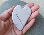 """Opal heart as palm stone - unique handmade gem stone heart from Australia - ooak heart rock - """"cuddle heart"""""""