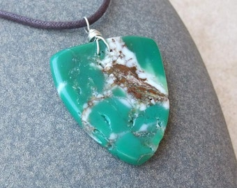 Large unique Chrysoprase pendant necklace -  organic one of a kind natural stone necklace