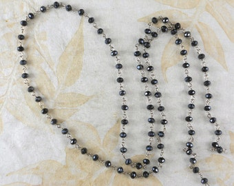 "Chain Black Crystal 6mm Beads on Silver Tone Chain 38"" nice for Rosary (M157)"