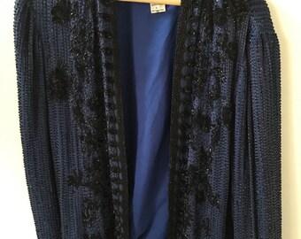 Amazing Vintage Navy Blue beaded jacket size 12-16