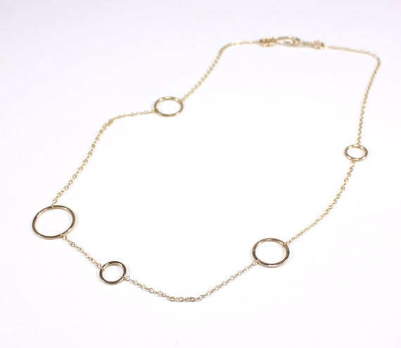 delicate yellow gold hammered circle chain necklace- the maxi