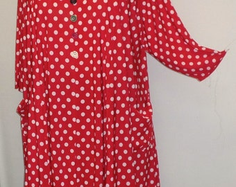 Coco and Juan,  Lagenlook,  Plus Size Top, Red Polka Dot Traveler Knit Trapeze Tunic,  Size 2 (fits 3X/4X)  Bust 60 inches