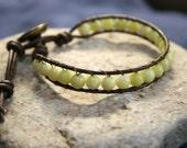 earthwrap: LUNA, mens leather beaded bead wrap bracelet earthy unisex
