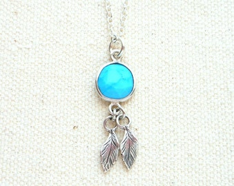 Turquoise necklace silver feather necklace boho jewelry genuine turquoise jewelry for men sterling silver mens necklace