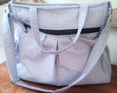 Sale READY TO SHIP,  Gray Diaper Bag, Tote Bag, Grey cross body bag, Gray cloth diaper bag, nappy bag