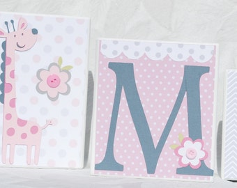 Large personalized name blocks . Makenzie . Pink Gray Green with Jungle Animals
