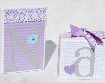 Children's Personalized Name Blocks for Baby Shower . Lavender Lilac Aqua Teal Gray White