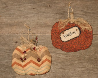 Primitive Fall Pumpkin Ornaments, Set of Two, Door Hangers, Bowl Fillers, Primitive Decor